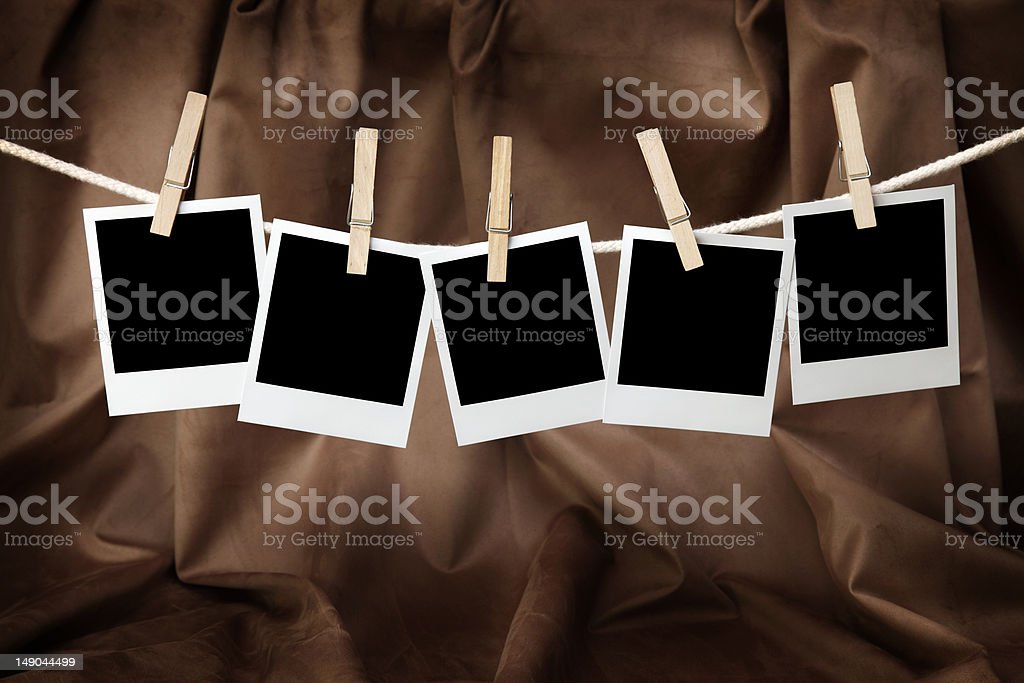 Five blank instant photos royalty-free stock photo