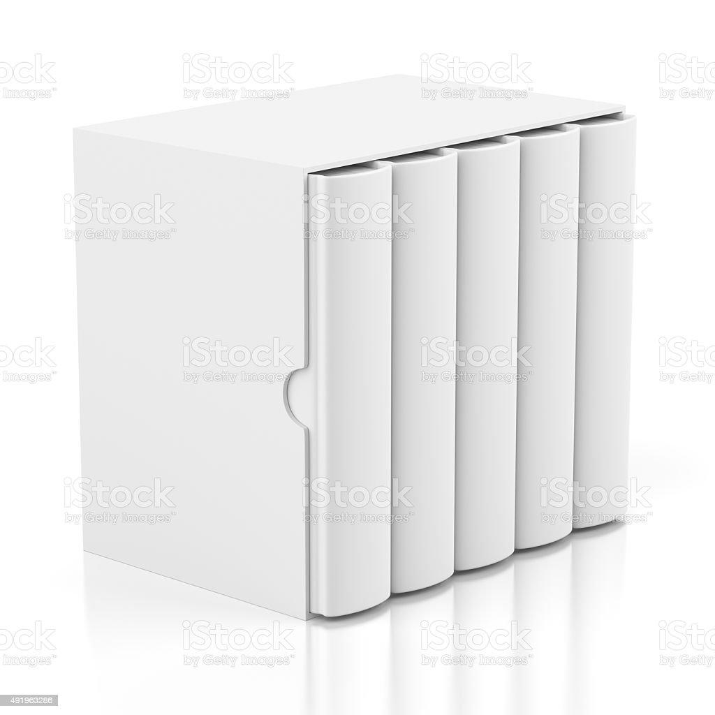 Five books in cardboard box cover on white stock photo