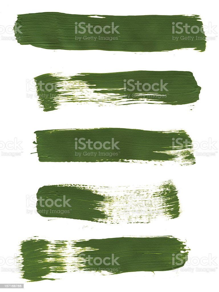 Five Bright Green Paint Strokes royalty-free stock photo