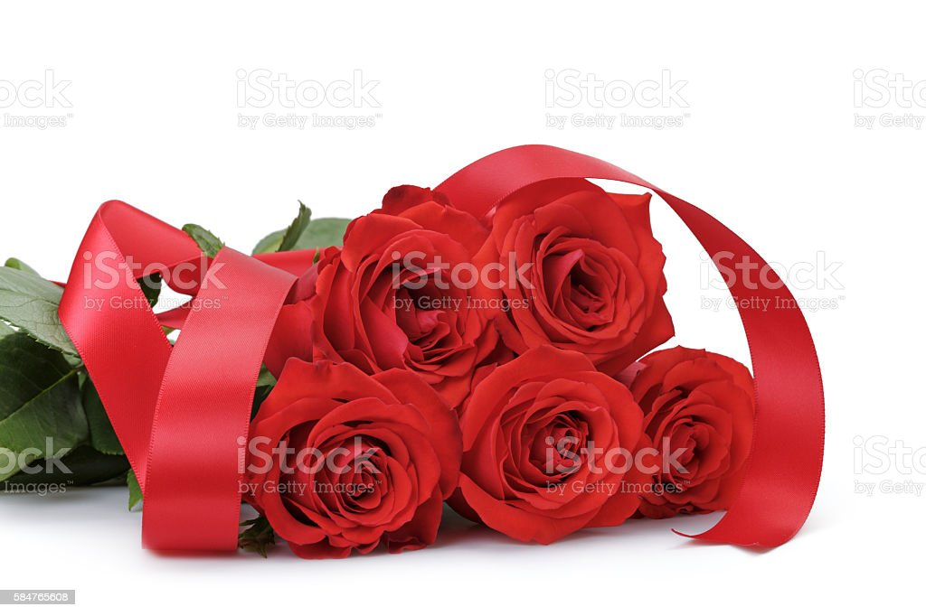 five bright red roses isolated on white stock photo
