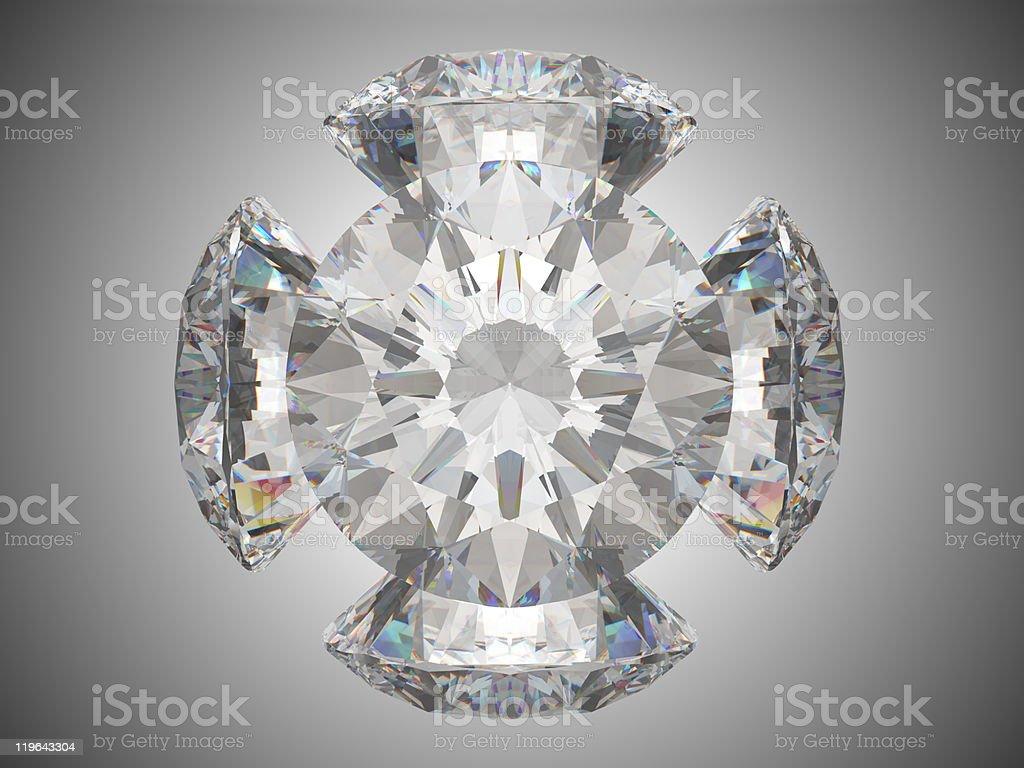 Five brilliant cut diamonds royalty-free stock photo