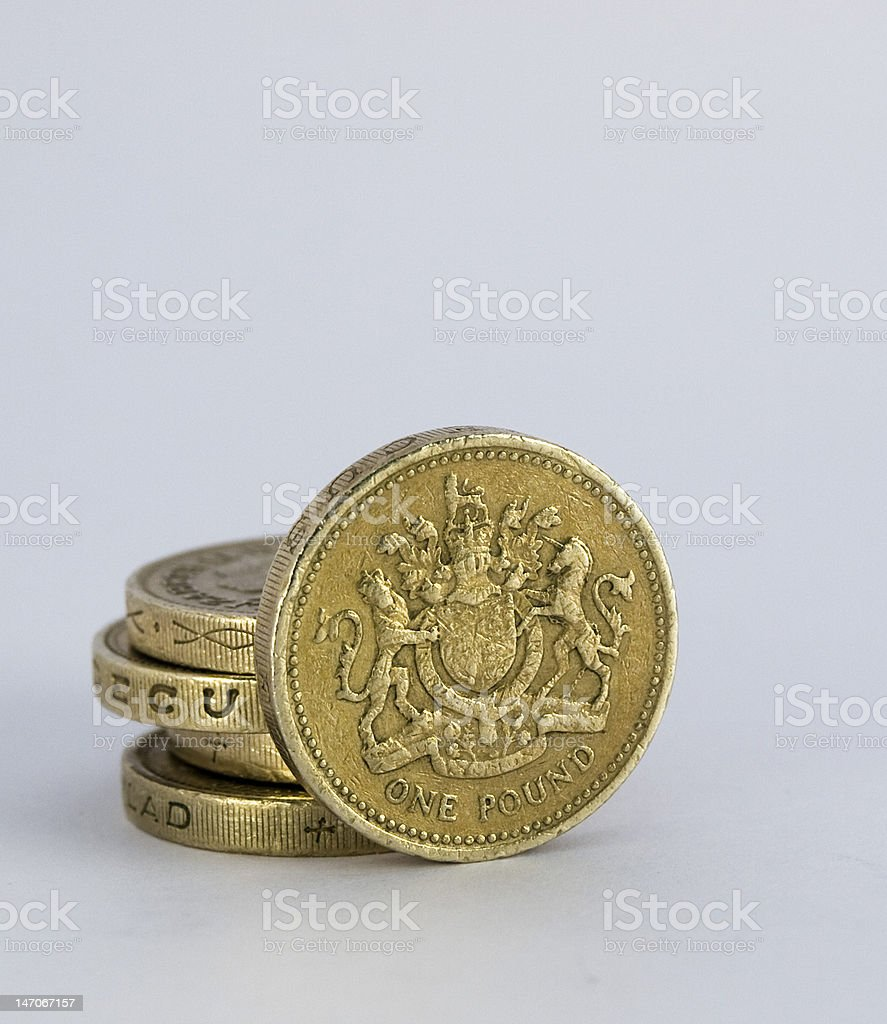 Five British One Pound Coins royalty-free stock photo