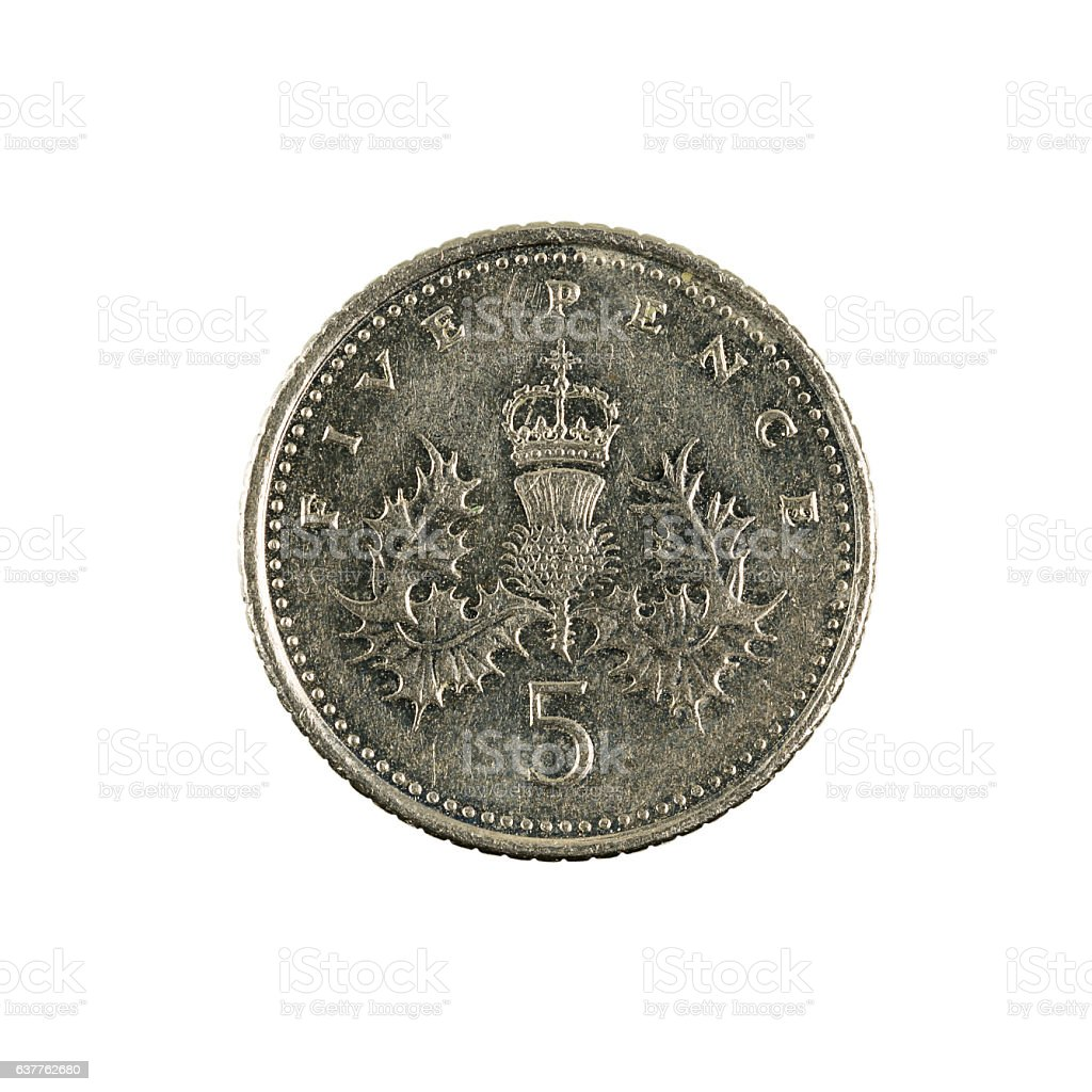 five british pence coin (2006) isolated on white background stock photo