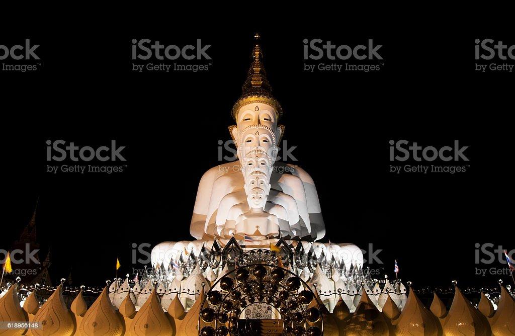 Five Buddha Statues, Public Temple in Phetchabun Thailand, Night Scene stock photo