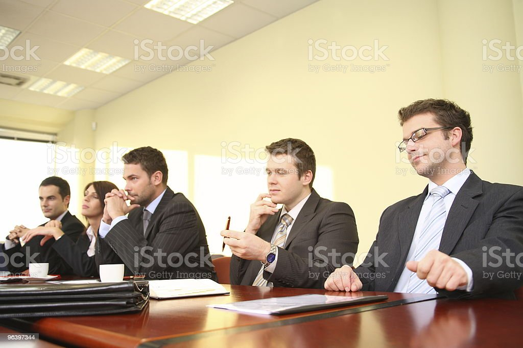 five business people at the debate royalty-free stock photo