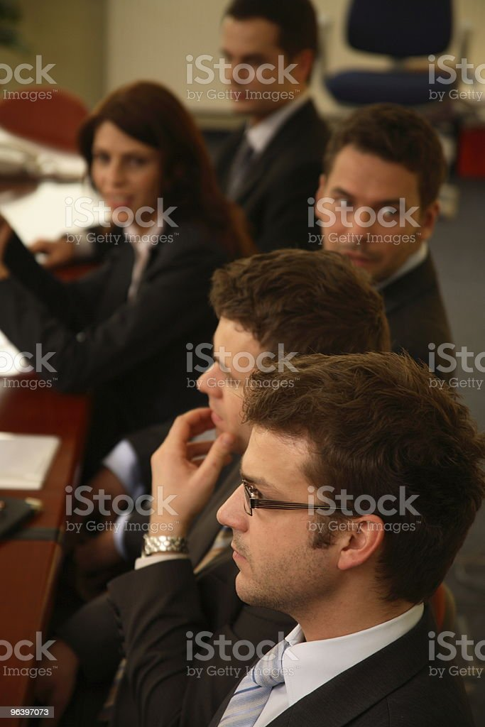 Five business people during formal meeting royalty-free stock photo