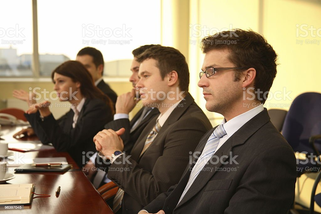 Five business persons at a Conference,interview stock photo