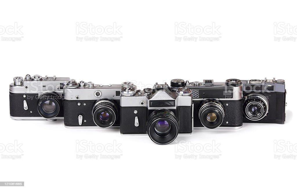 five cameras stock photo