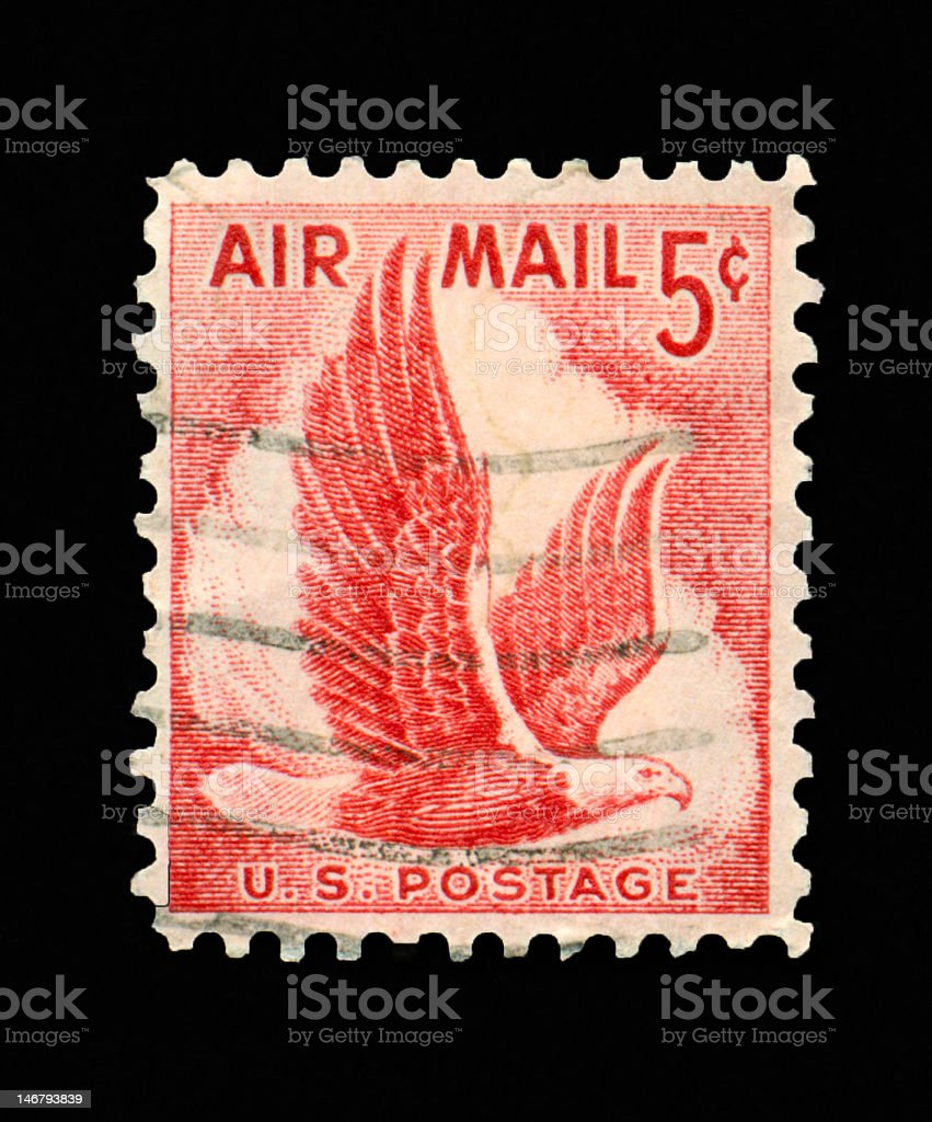 Five Cent Eagle Air Mail Stamp royalty-free stock photo