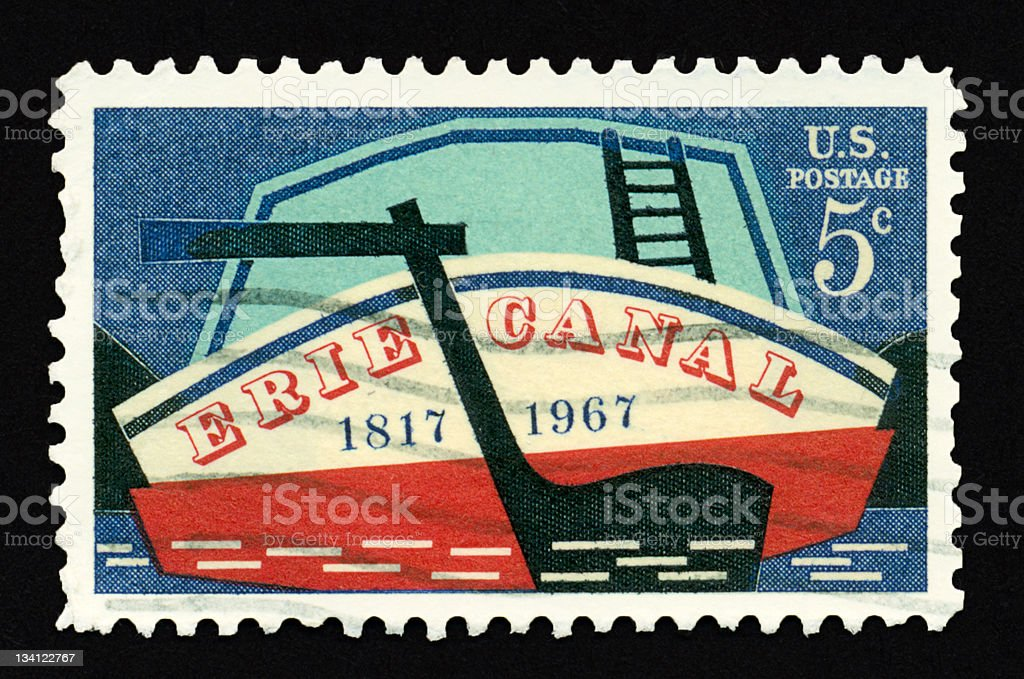 Five Cent Erie Canal Stamp royalty-free stock photo
