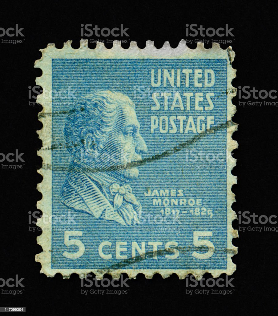 Five Cent James Monroe Stamp royalty-free stock photo