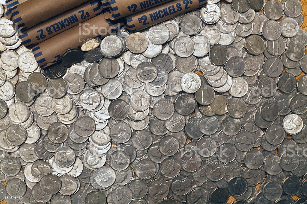 Five Cent Nickel US Coins stock photo