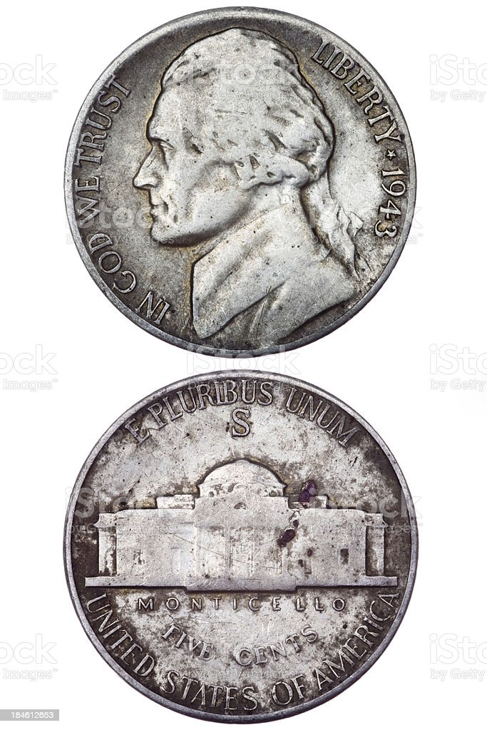 USA Five Cents 1943 stock photo