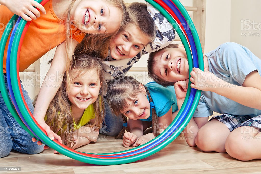 Five cheerful kids stock photo