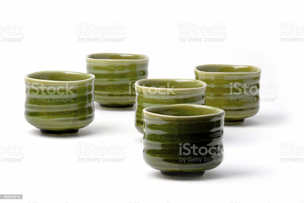 five chinese tea cups 3 stock photo