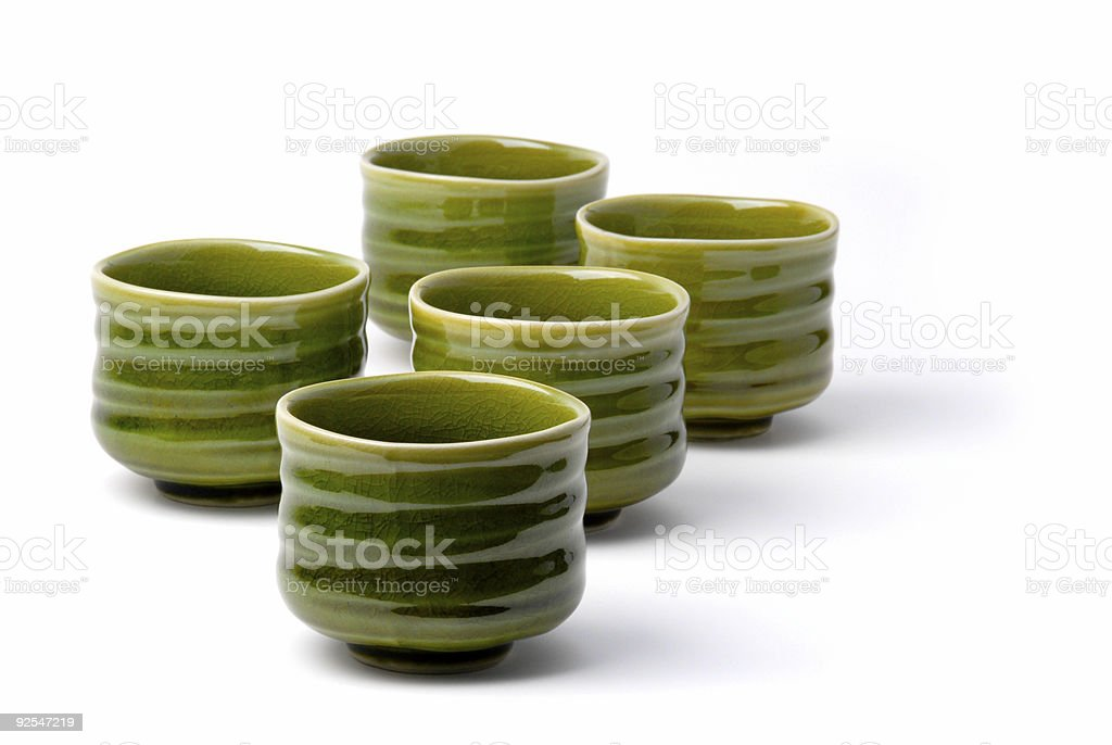 five chinese tea cups 4 stock photo