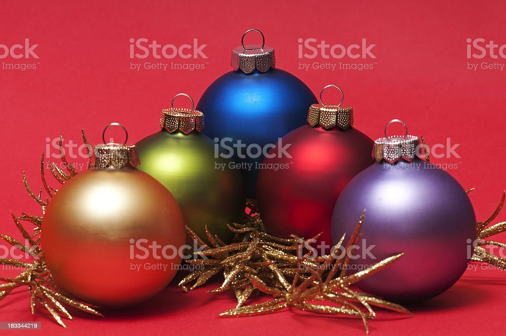 Five Christmas balls royalty-free stock photo