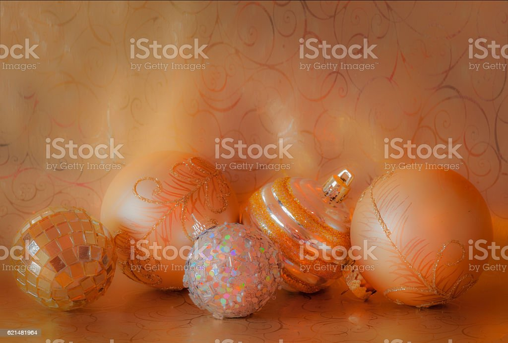 Five Christmas Ornaments glow in gold and silver (P) stock photo