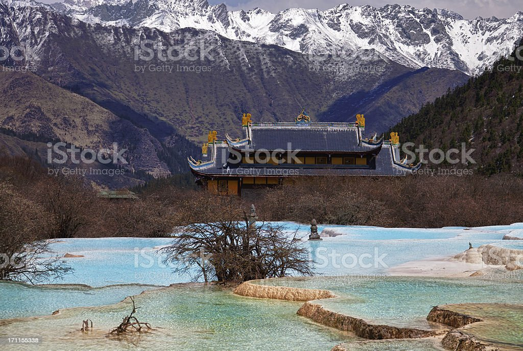 Five Color Ponds at Huanglong Valley, Sichuan, China royalty-free stock photo