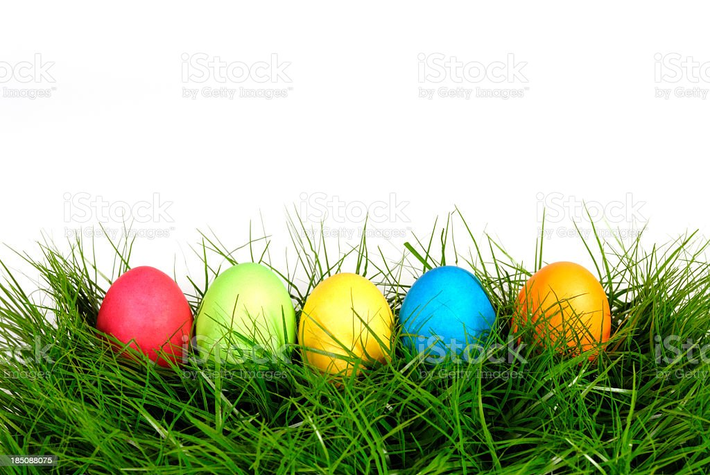 Five colorful Easter eggs lying in lush grass stock photo
