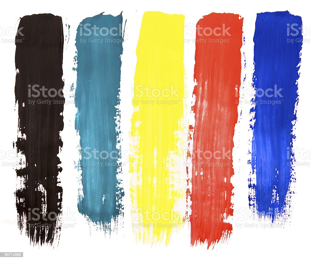 Five colorful paint brush steaks on a white background stock photo