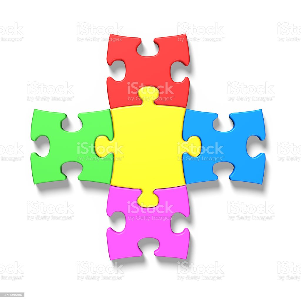 Five colorful puzzles connecting stock photo