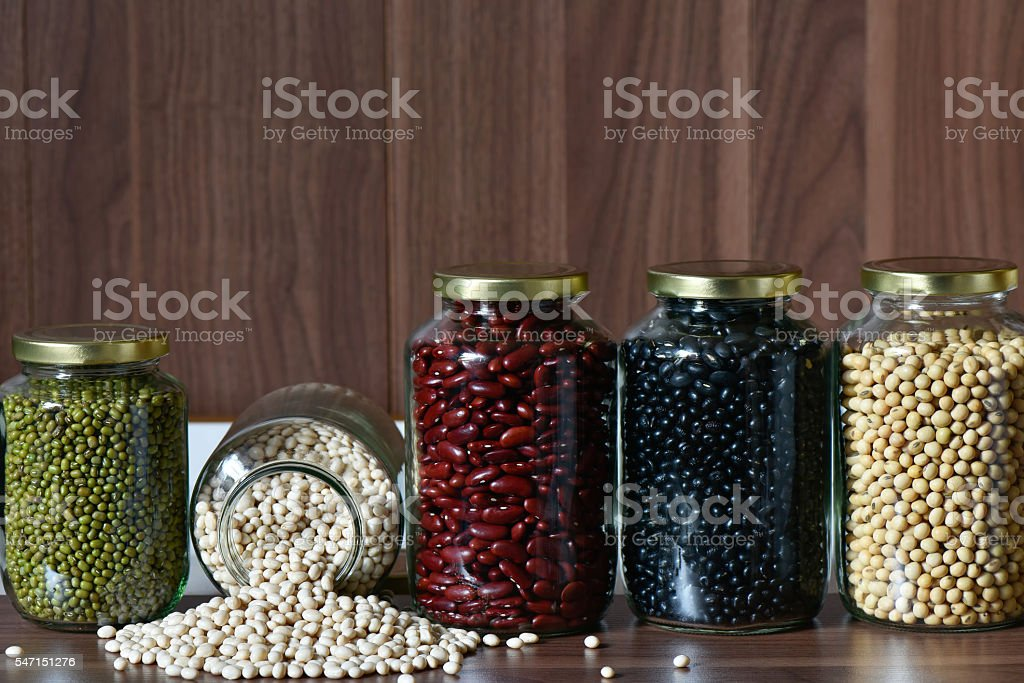 Five colour bean in a glass jar for healthy stock photo