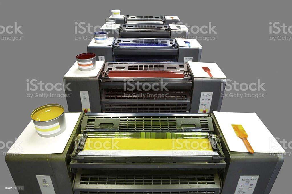 Five colour printing press royalty-free stock photo
