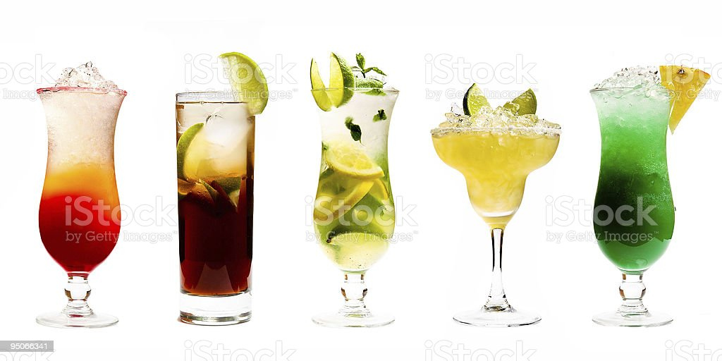 Five colourfull cocktails stock photo