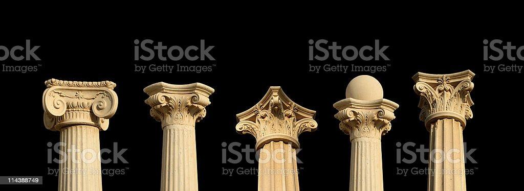 Five columns on black XXL stock photo