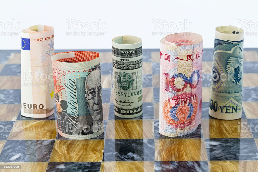 Five currencies, five global players stock photo