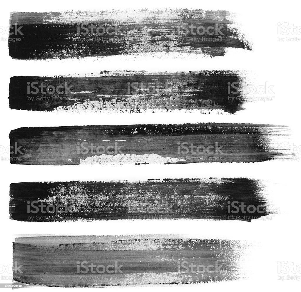 Five different black paint brush strokes on white stock photo