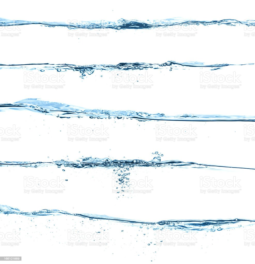 Five different blue water surfaces isolated on white stock photo