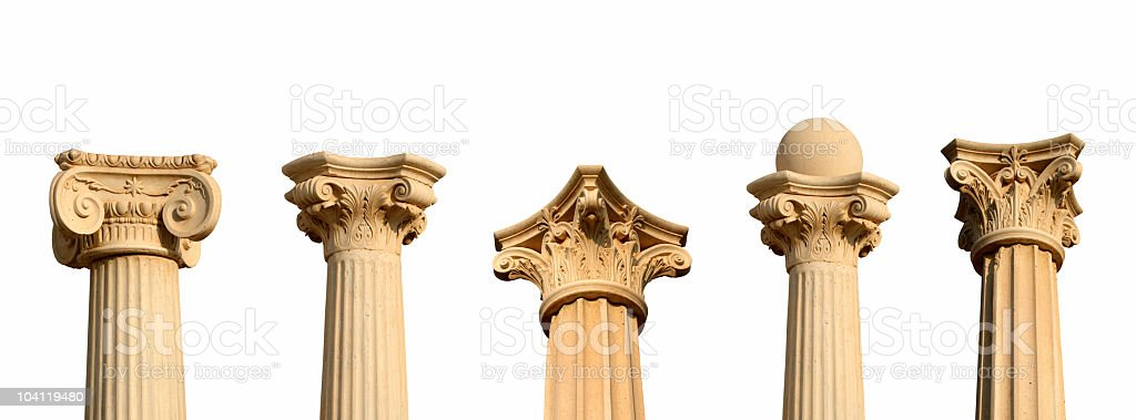 Five different columns in a row XXL stock photo