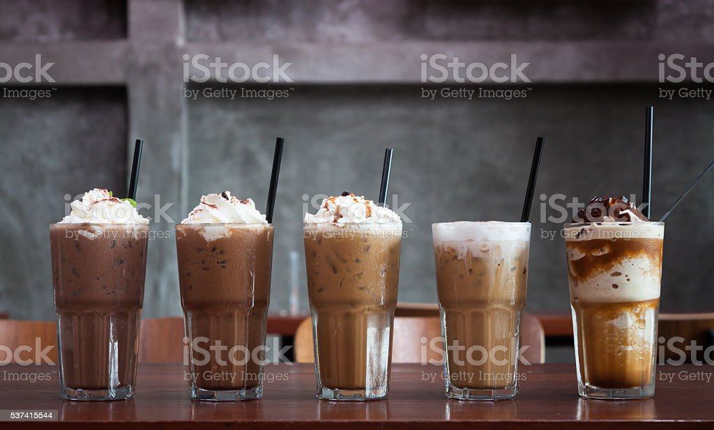 Five different kind of iced coffee stock photo