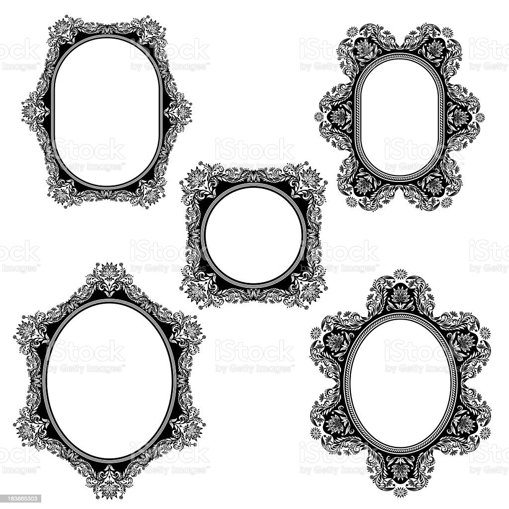 Five different ornamental frames isolated on white Background stock photo