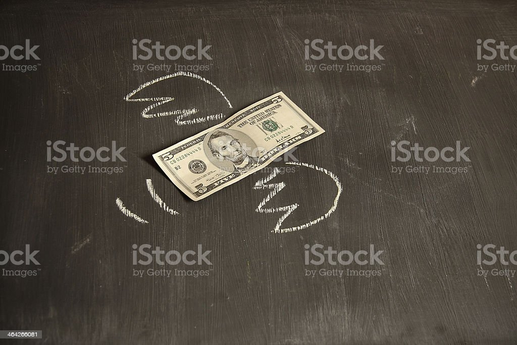 Five Dollar bank note flying stock photo