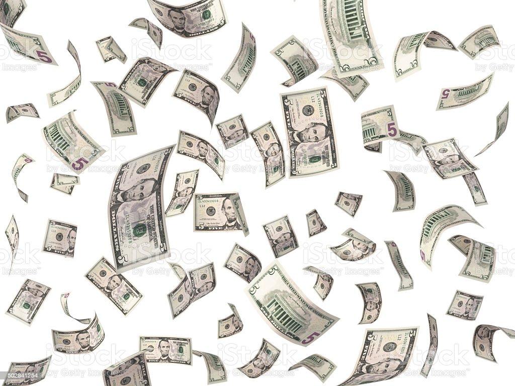 Five dollar bills flying on white background stock photo