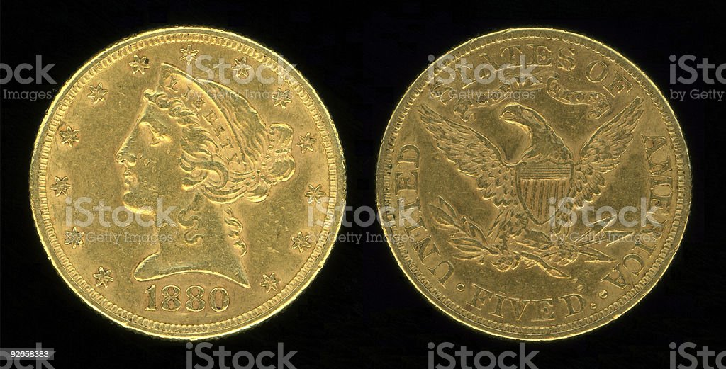 Five Dollar Gold Piece stock photo