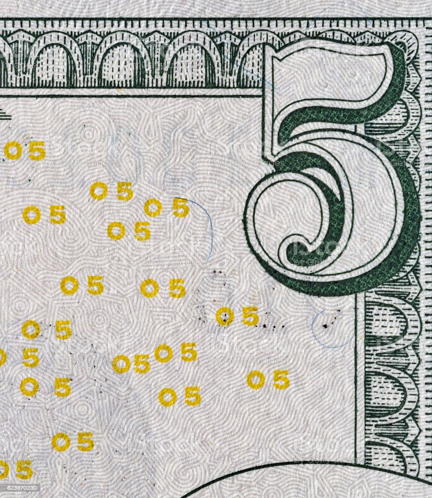 US five dollars bill corner, closeup stock photo