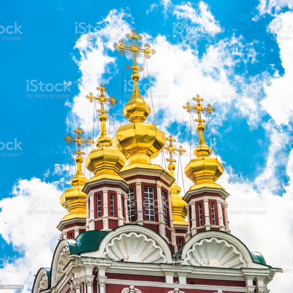 Five domes of the Orthodox Church stock photo