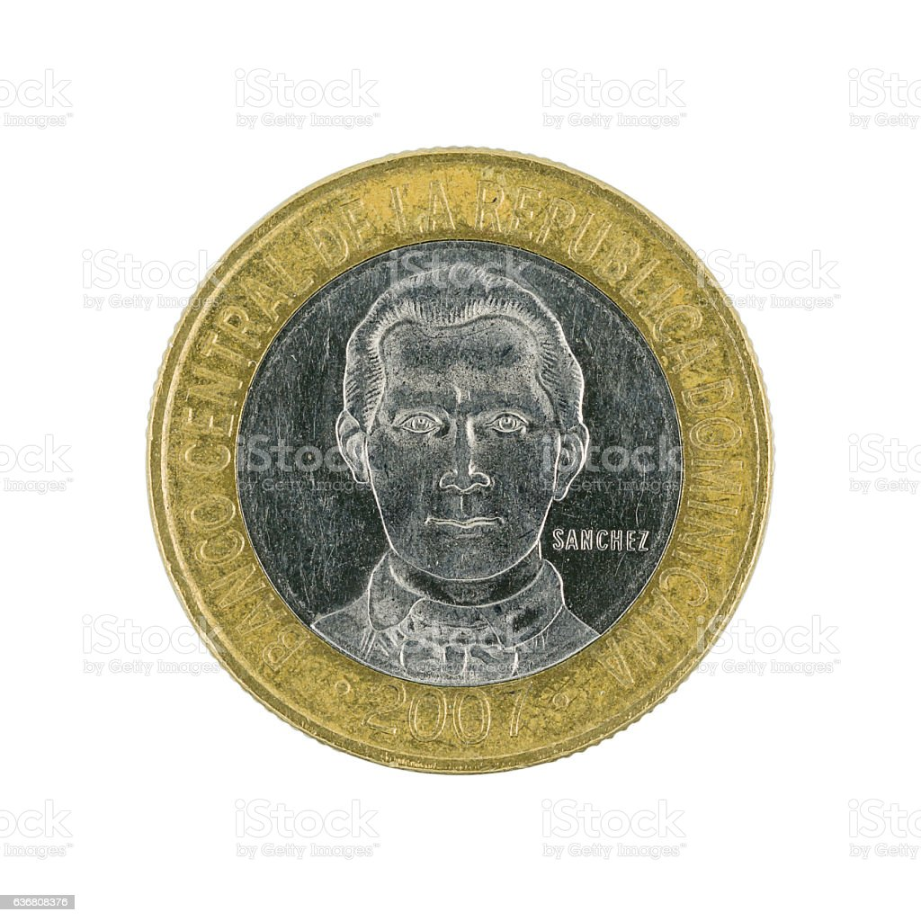 five Dominican pesos coin (2007) isolated on white background stock photo