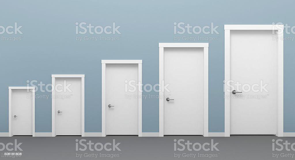 Five doors white. stock photo