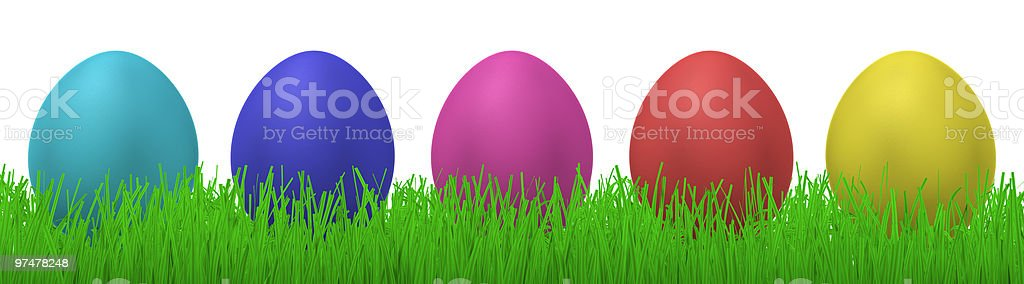five easter eggs in grass royalty-free stock photo