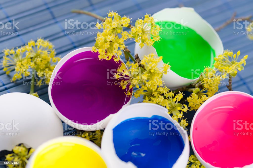 Five egg shells filled with paints for Easter decoration stock photo