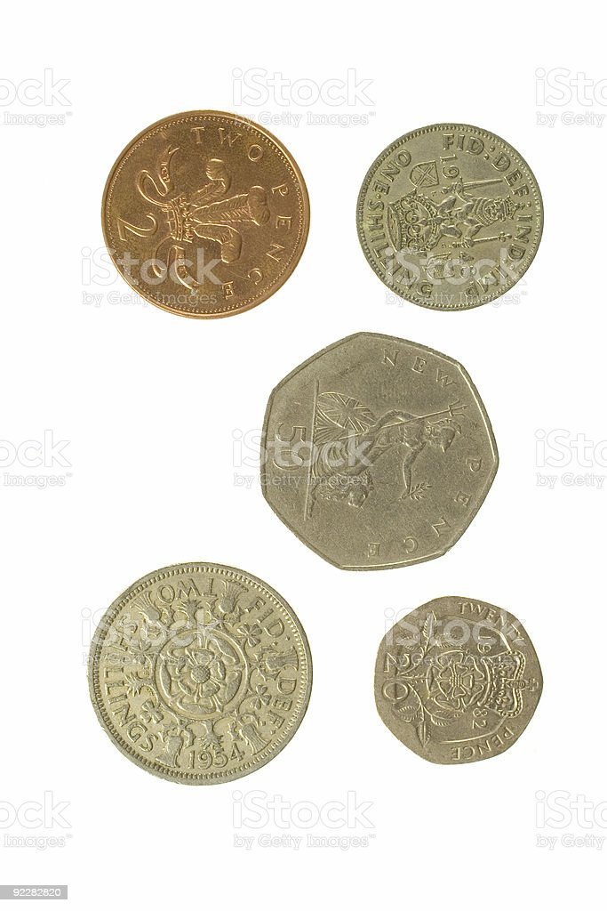 Five English Coins 2 royalty-free stock photo