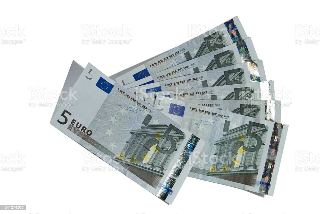 five euro banknotes stock photo