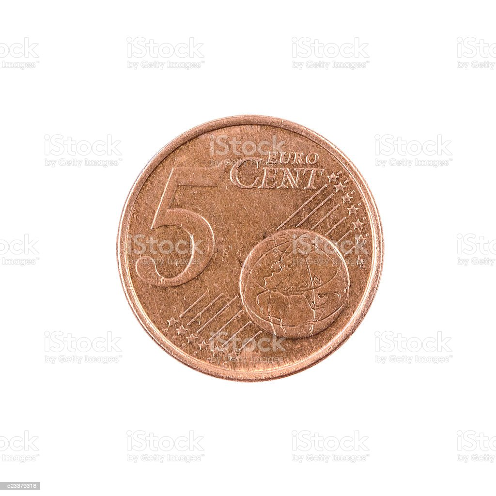 five euro coin cent Finland. isolated on white background stock photo