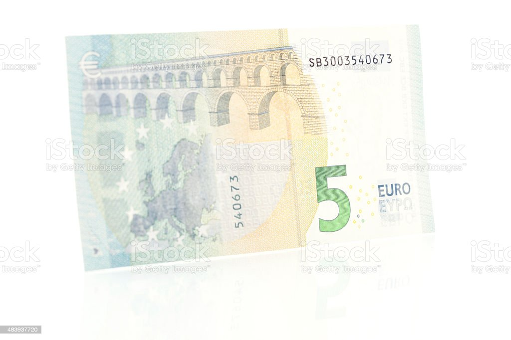 Five Euro Note - Back stock photo