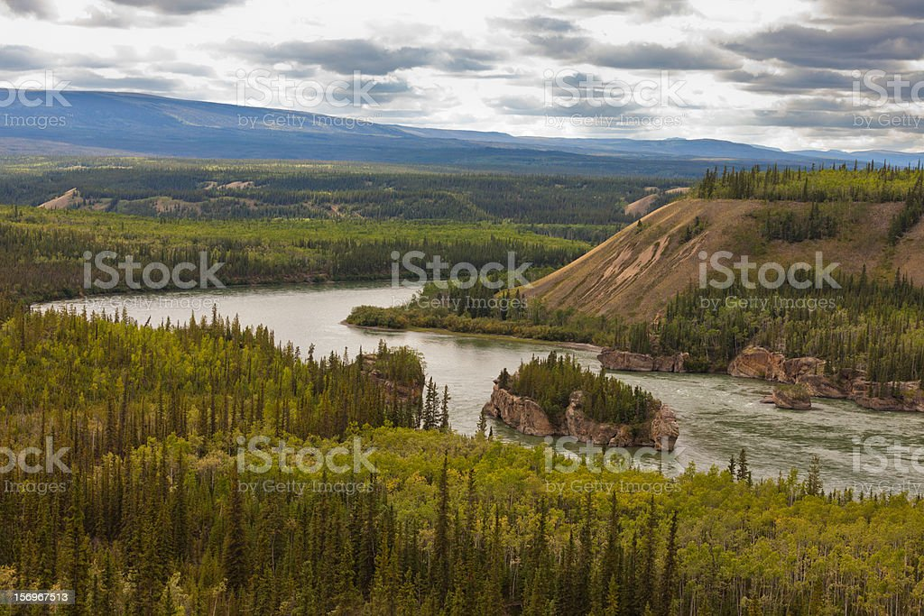 Five Finger Rapids of Yukon River in YT, Canada royalty-free stock photo